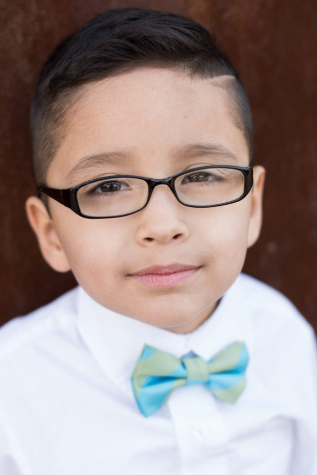 Sage and Turquoise Stripe Bow Tie (Boys and Men)