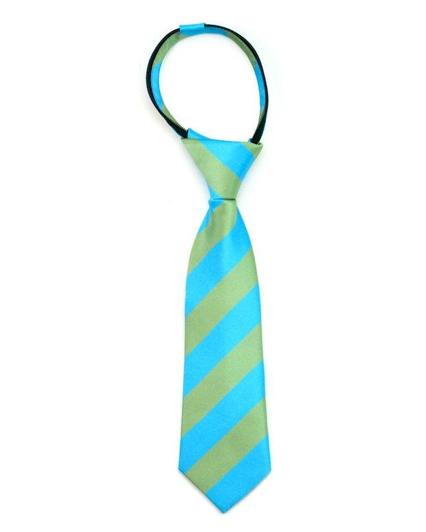 Sage and Turquoise Stripe Zipper Tie