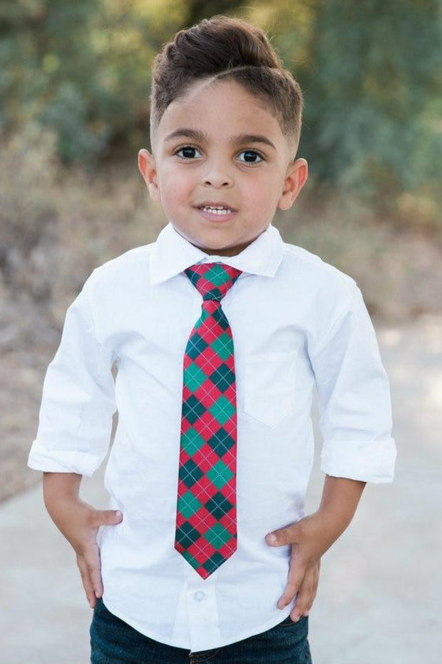 Scarlet and Pine Argyle Zipper Tie (Boys and Men)