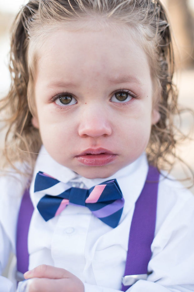 Sherbert and Navy Stripe Bow Tie (Boys and Men)