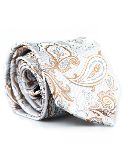 Silver and Caramel Paisley Standard Necktie