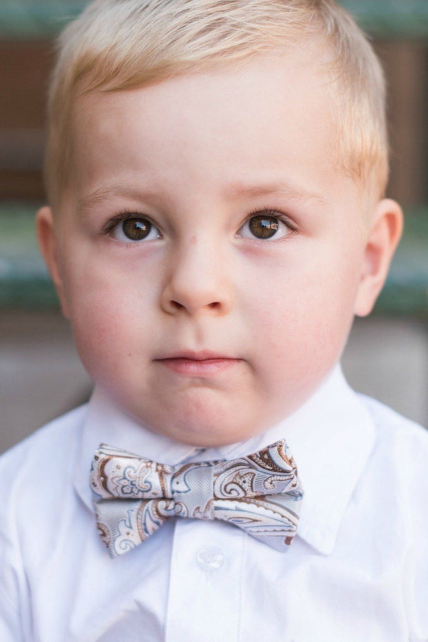 Silver and Caramel Paisley Bow Tie (Boys and Men)