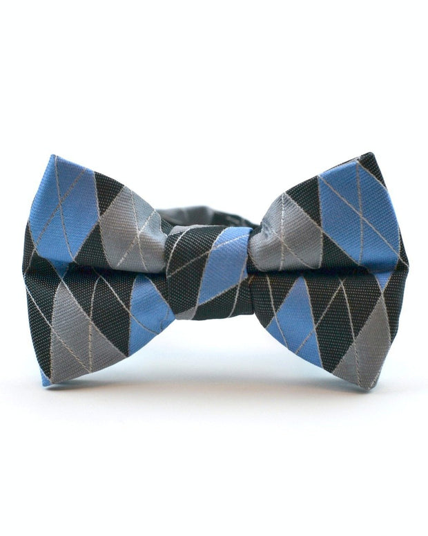 Sky and Gray Argyle Bow Tie (Boys and Men)