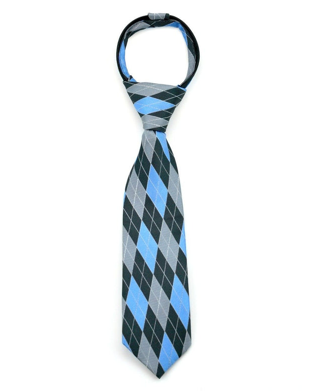 Sky and Gray Argyle Zipper Tie