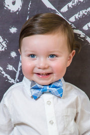 Sky Blue and Smoke Squares Bow Tie (Boys and Men)