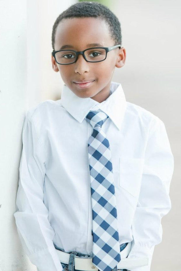 Slate and Navy Check Zipper Tie (Boys and Men)