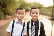 Slate and White Stripe Bow Tie (Boys and Men)