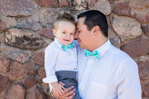 Spring Green Stripe Bow Tie (Boys and Men)