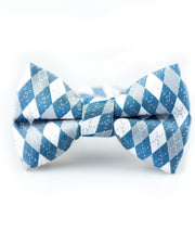 Steel Blue Argyle Bow Tie (Boys and Men)