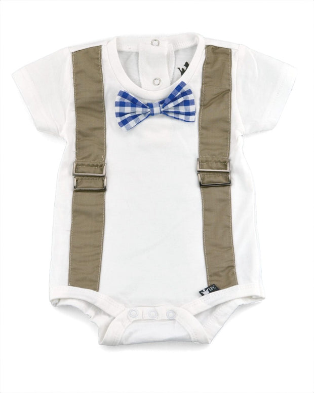 Tan Faux Suspender Bodysuit with Interchangeable Bow Ties