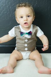 Tan Faux Vest Bodysuit with Interchangeable Bow Ties