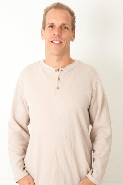 Tan Men's Thermal Henley Shirt