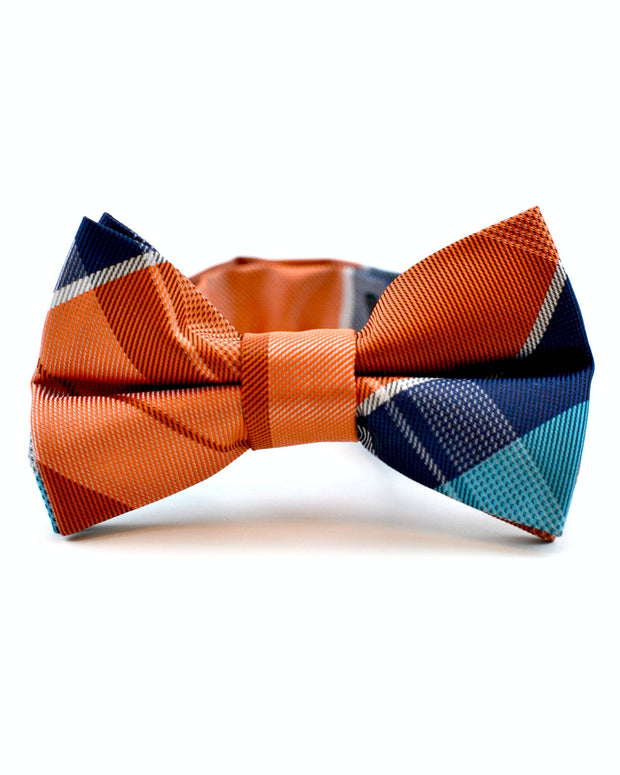 Tangerine and Navy Plaid Tie