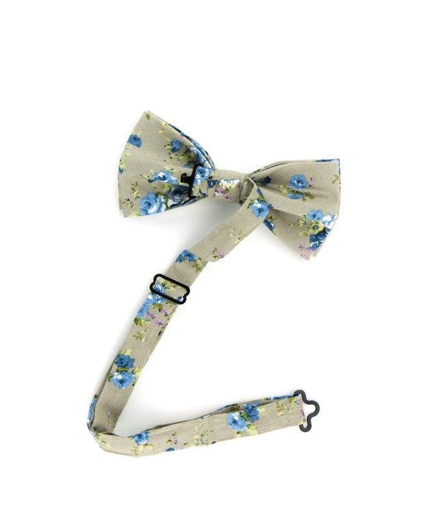 Taupe and Sky Floral Bow Tie (Boys and Men)