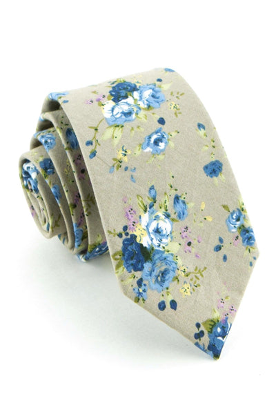 Taupe and Sky Floral Tie