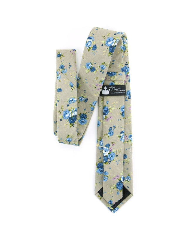 Taupe and Sky Floral Standard Necktie (Adult and Youth)