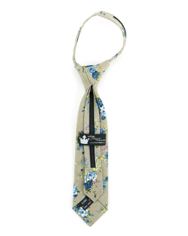 Taupe and Sky Floral Zipper Tie (Boys and Men)
