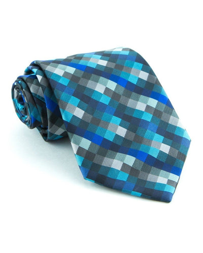 Teal and Blue Squares Standard Necktie (Adult and Youth)