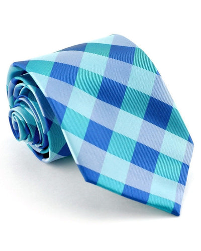 Teal and Marine Check Standard Necktie