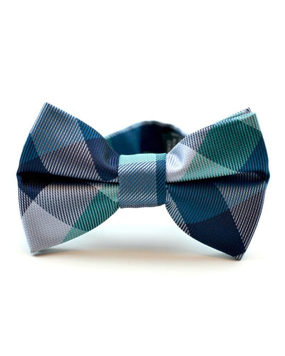 Teal and Navy Check Bow Tie (Boys and Men)