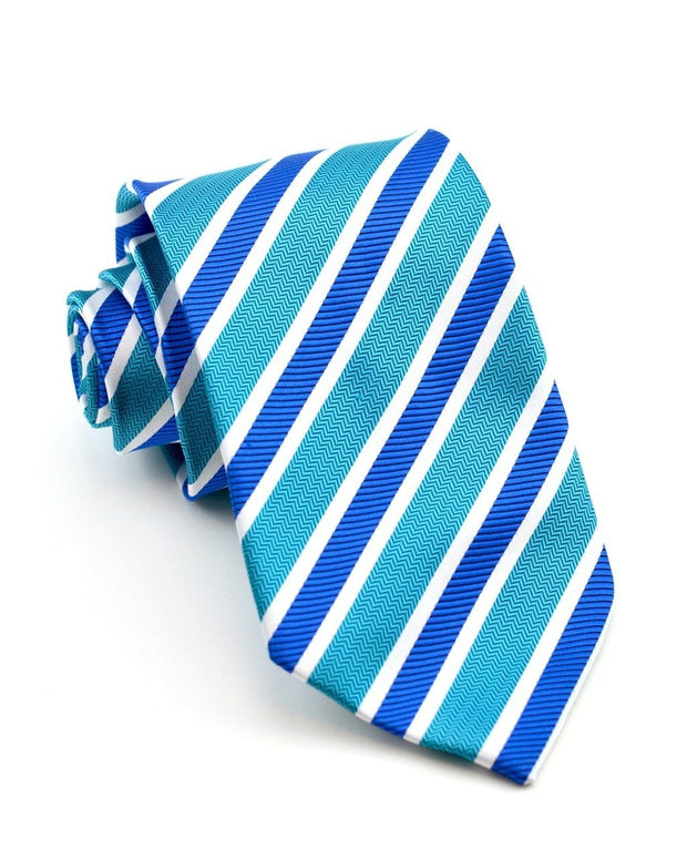 Teal and Sapphire Stripe Full Size Tie
