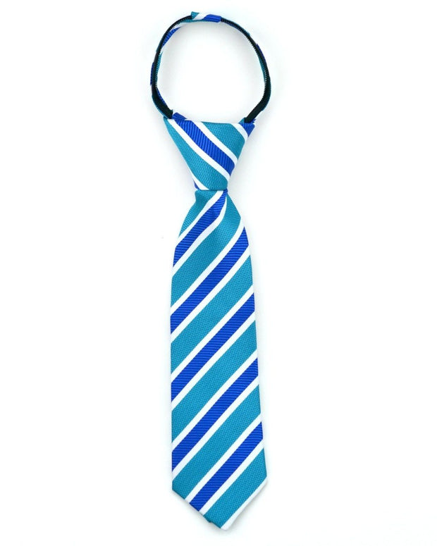 Teal and Sapphire Stripe Zipper Tie