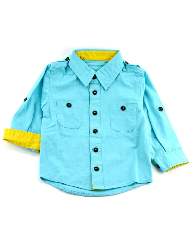 Long Sleeve Teal Canvas Dress Shirt
