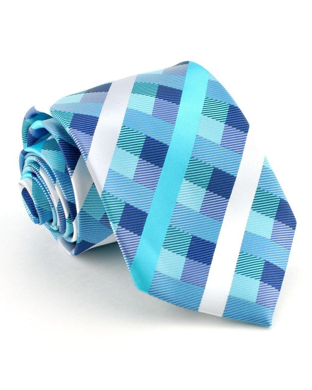 Teal Stripes and Squares Standard Necktie