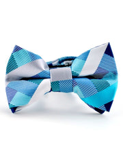 Teal Stripes and Squares Bow Tie (Boys and Men)