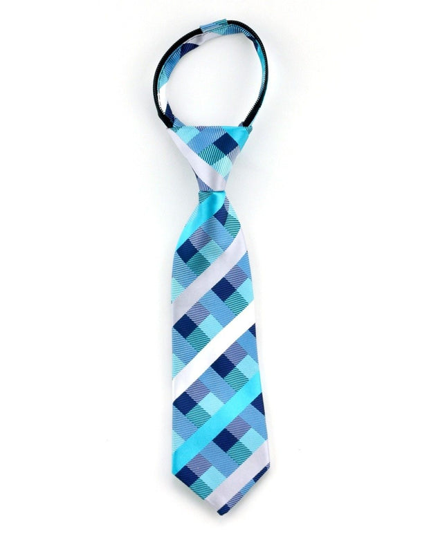 Teal Stripes and Squares Zipper Tie
