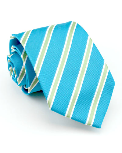 Turquoise and Lime Stripe Tie