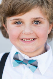 Turquoise and Silver Check Bow Tie (Boys and Men)