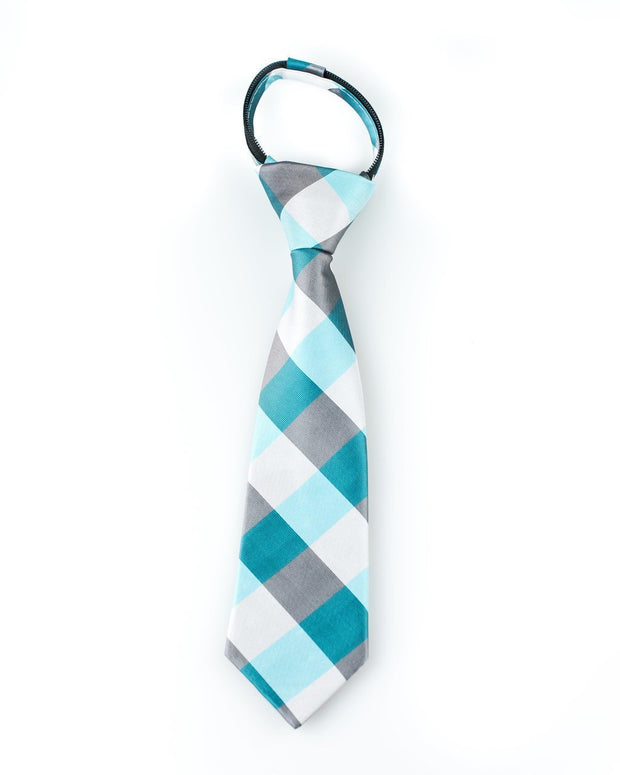 Turquoise and Silver Check Zipper Tie