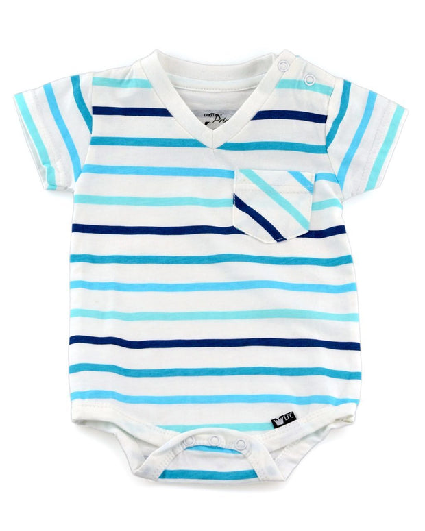 Blue, White, & Turquoise Stripe V-Neck Bodysuit