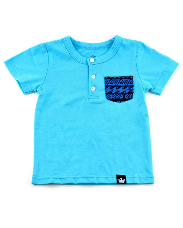 Turquoise & Tribal Print Pocket Henley Shirt