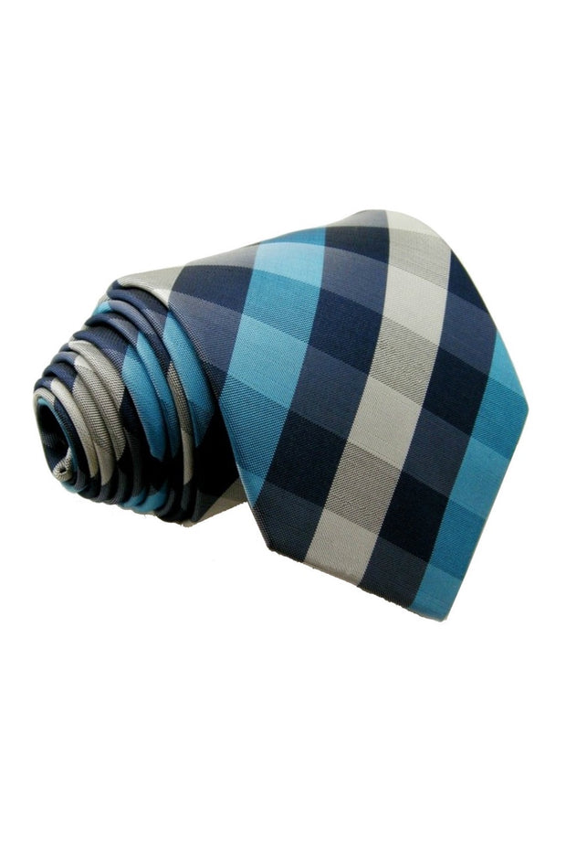 Turquoise and Silver Check Tie