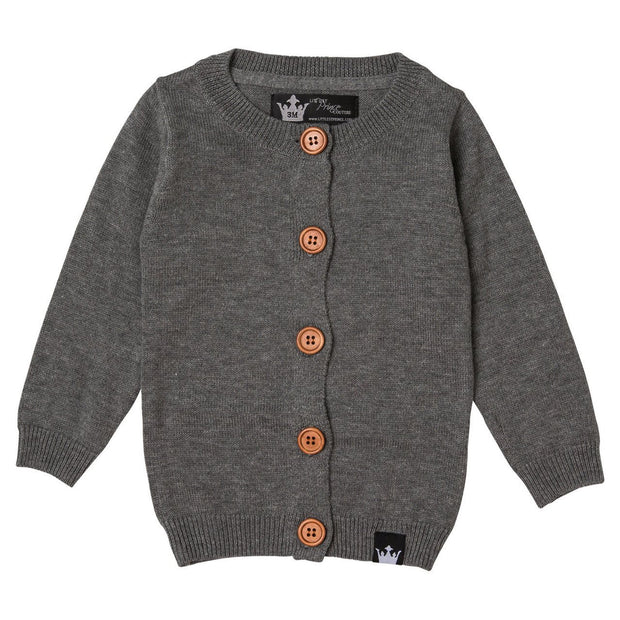 Charcoal Cardigan Sweater & T-Shirt | 2 Piece Set
