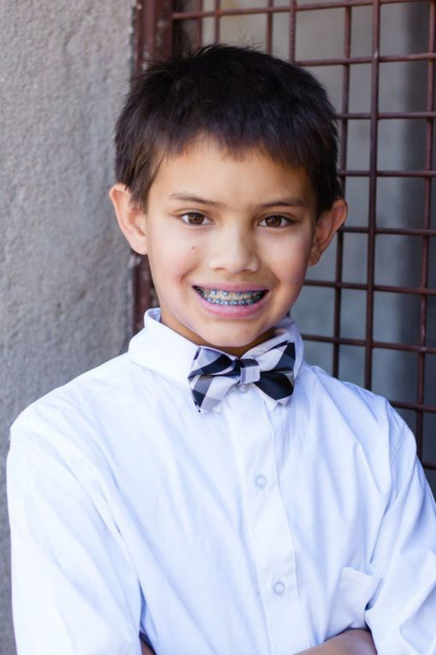Black and White Plaid Bow Tie (Boys and Men)