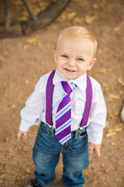 Violet and Blue Stripe Zipper Tie