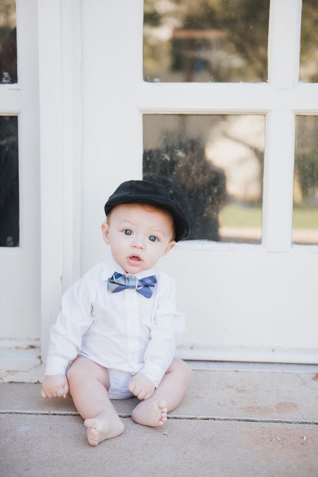 Violet and Silver Plaid Bow Tie (Boys and Men)
