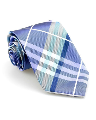 Violet and Silver Plaid Standard Necktie