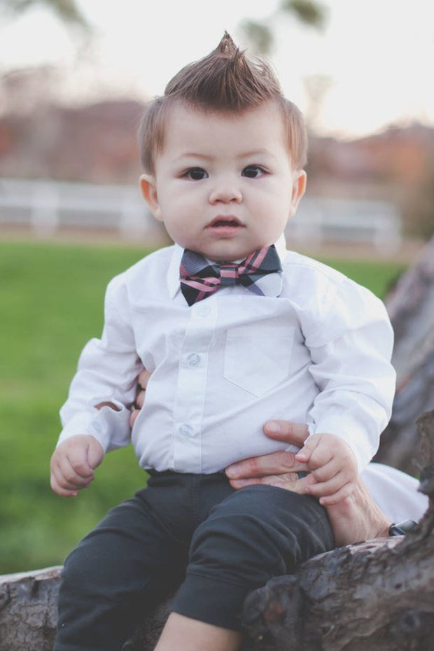 Blush and Black Plaid Bow Tie (Boys and Men)