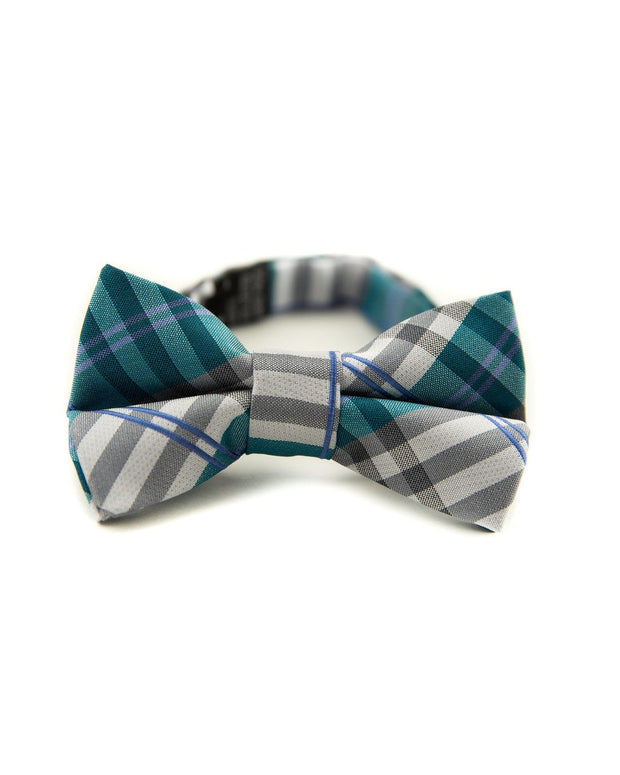 Cerulean and Steel Plaid Bow Tie (Boys and Men)