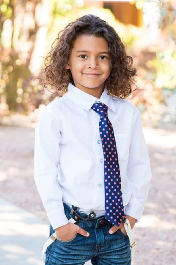 Indigo and Rose Dot Zipper Tie (Boys and Men)