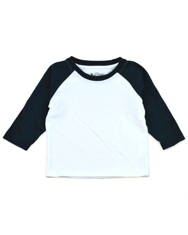 White & Black Long Sleeve Raglan Shirt
