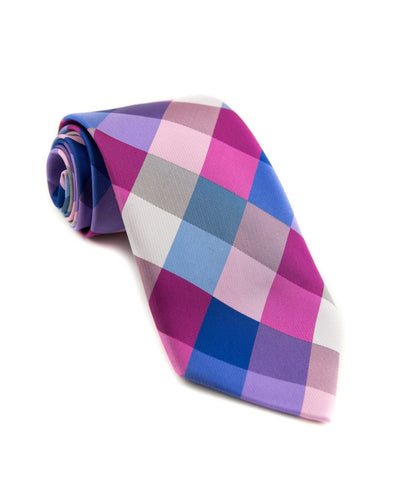 Blue and Berry Check Standard Necktie (Adult and Youth)