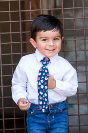 Blush and Navy Floral Zipper Tie (Boys and Men)