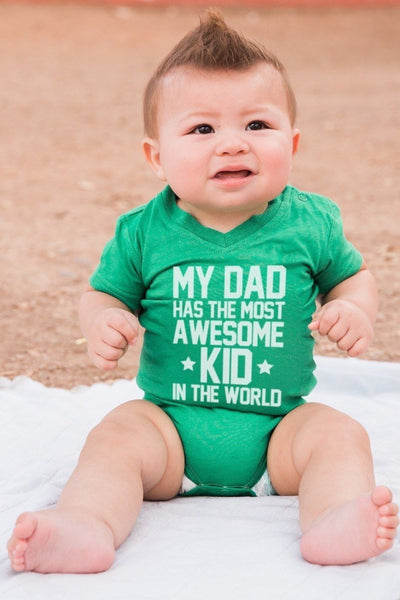 Most Awesome Kid Green V-Neck Bodysuit