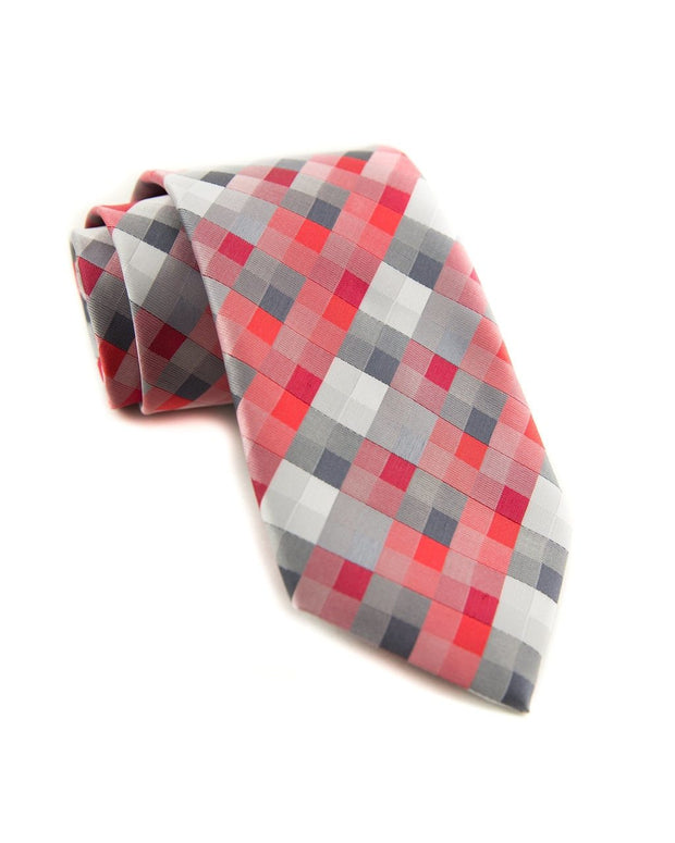 Coral and Slate Squares Standard Necktie (Adult and Youth)