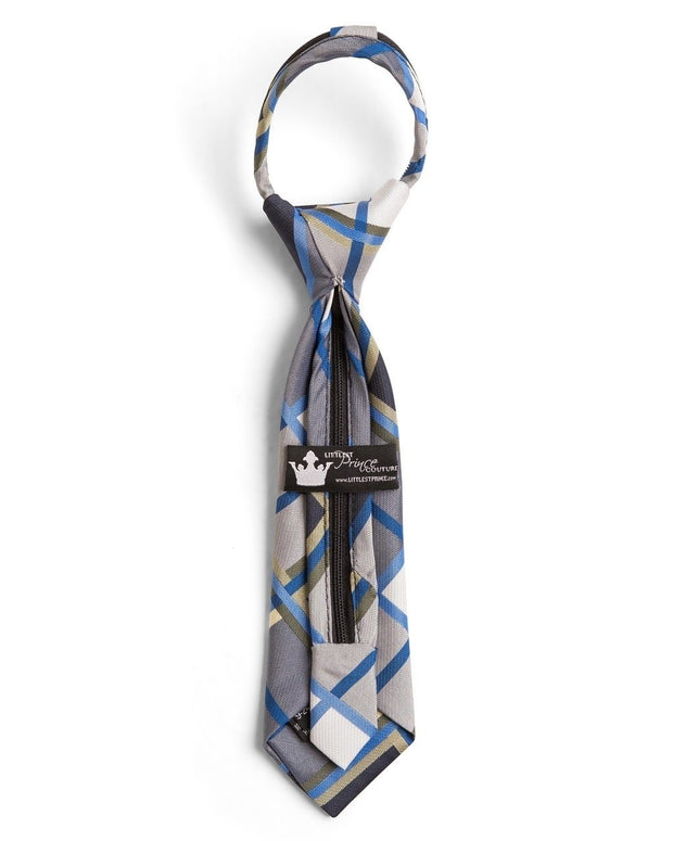 Azure and Black Plaid Zipper Tie (Boys and Men)